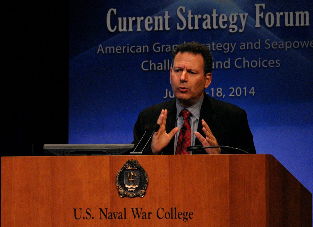 140617-N-ZZ999-089 NEWPORT, R.I. (June 17, 2014) Robert Kaplan, author and chief geopolitical analyst for Stratfor, provides remarks to U.S. Naval War College (NWC) students and distinguished guests as a keynote speaker during the 65th annual Current Strategy Forum (CSF) at NWC in Newport, Rhode Island. As NWC's capstone academic event, the two-day forum brings together distinguished guests and students to explore issues of strategic national importance. This year's theme,
